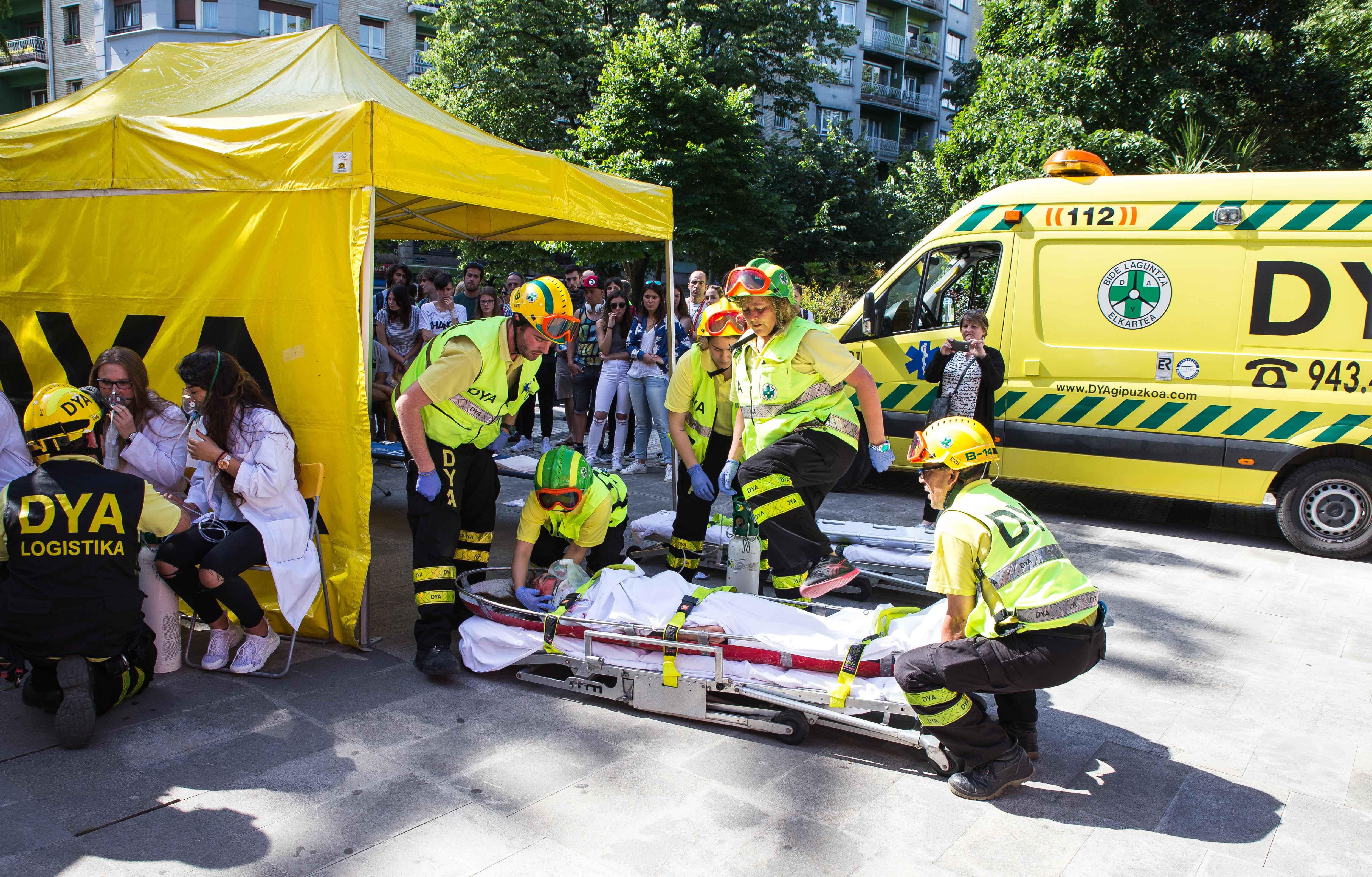 Ejercicio de incendio con rescate y evacuación de víctimas